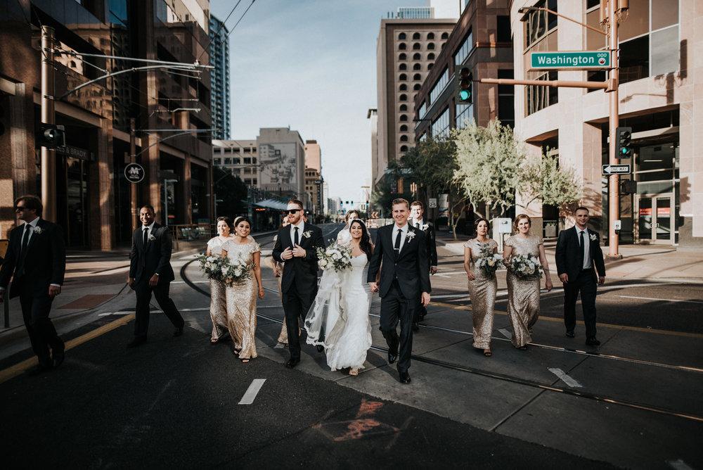 Downtown Phoenix Moody Glam Wedding
