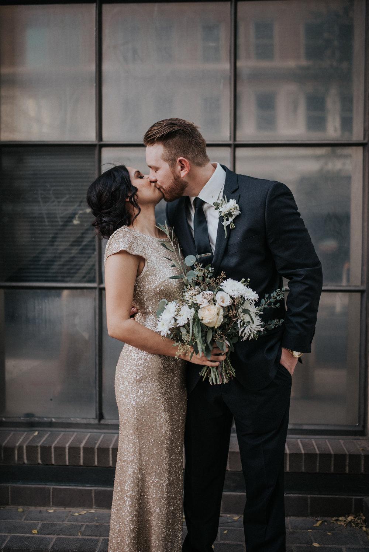 Downtown Phoenix Moody Glam Wedding - Bridesmaid and Groomsman