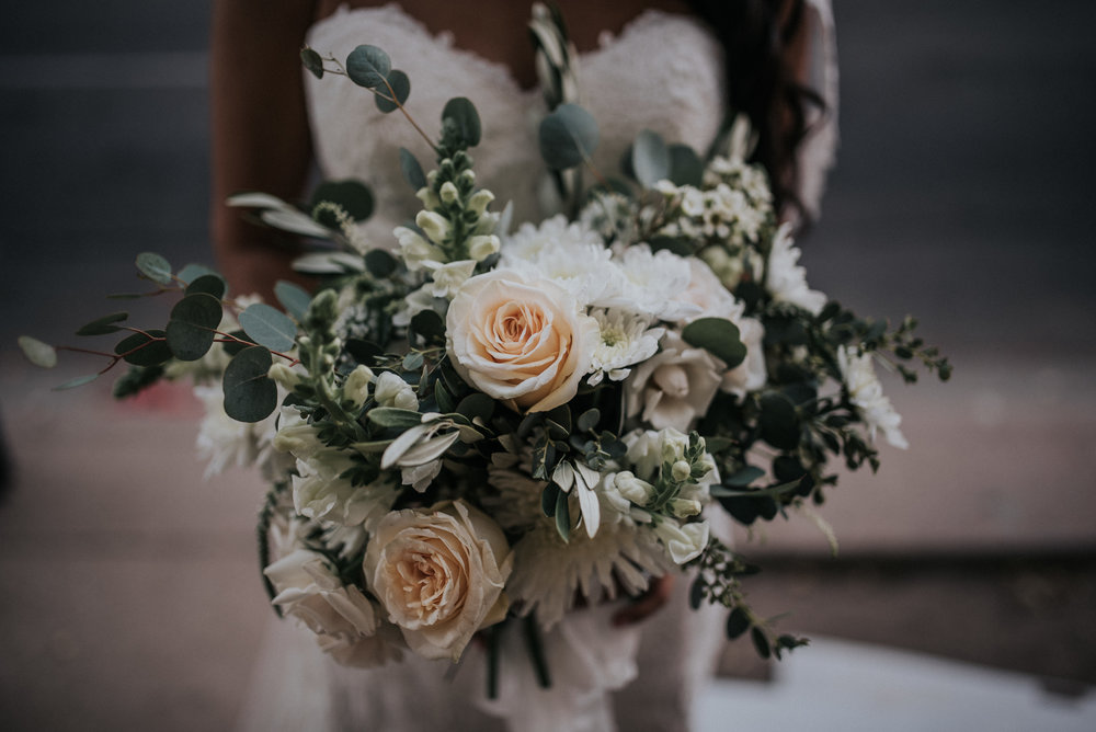 Downtown Phoenix Moody Glam Wedding - Peach and White Bridal bouquet