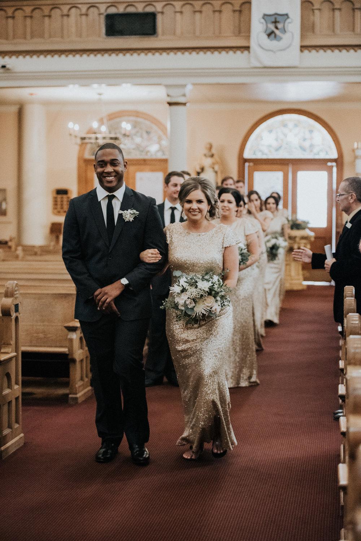 Downtown Phoenix Moody Glam Wedding - Catholic Church Ceremony