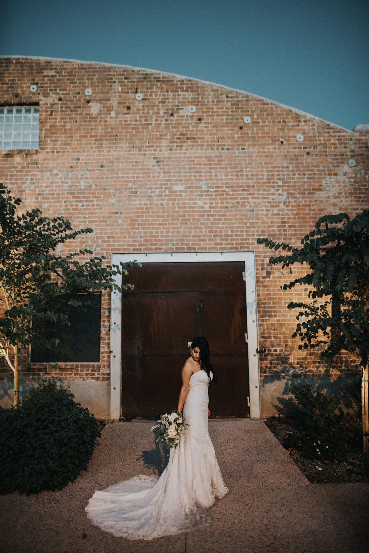 Downtown Phoenix Moody Glam Wedding - Bride