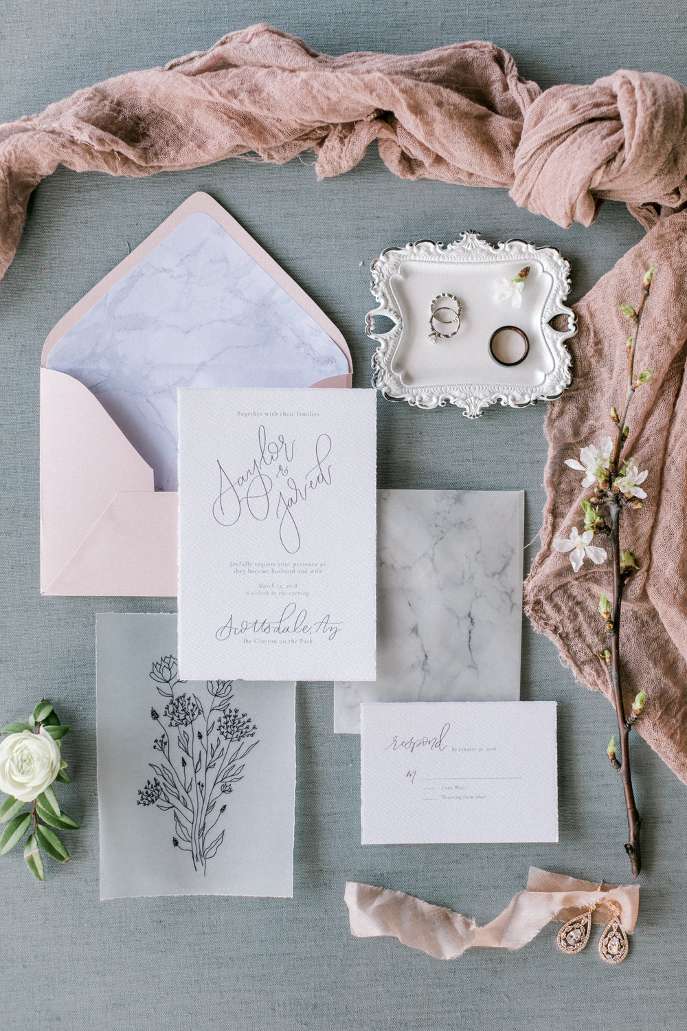 Blush and White Cherry Blossom Inspired Wedding