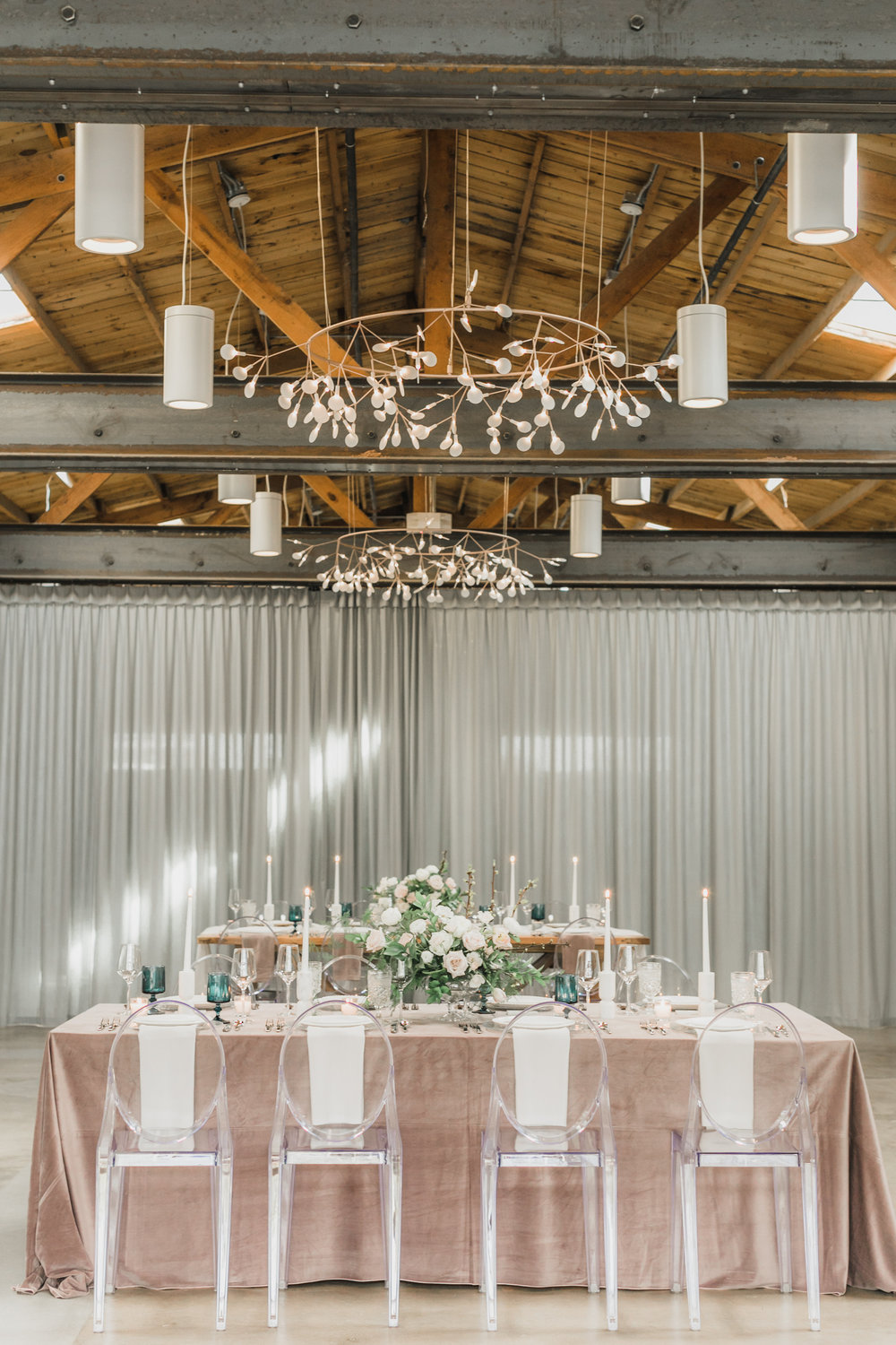Blush and White Cherry Blossom Inspired Wedding - Reception Tables