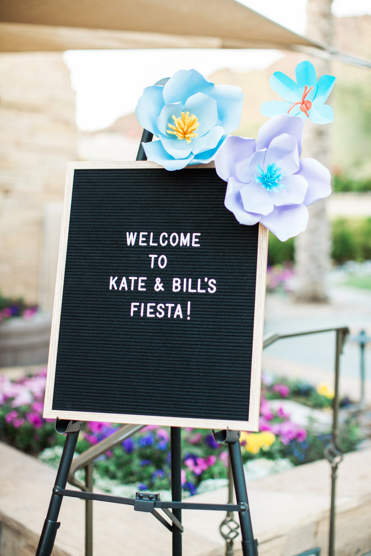 Fiesta Rehearsal Dinner - Paper Flower Welcome Sign