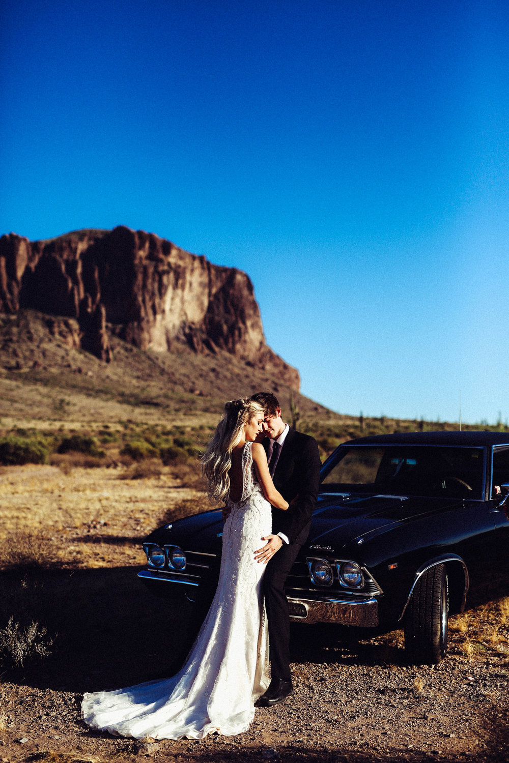 Thelma & Louise Inspired Wedding - Classic Car with Floral in the Desert