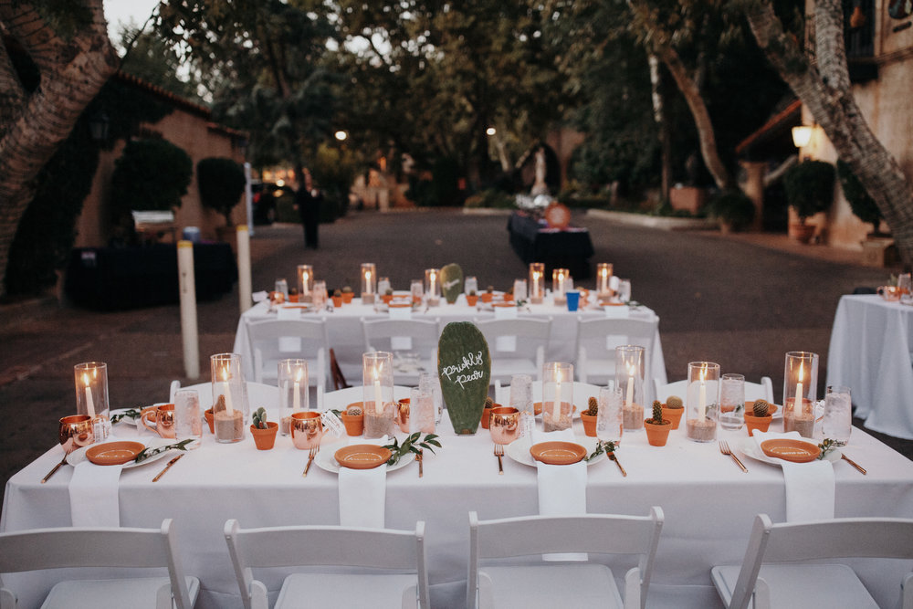 Sedona Wedding - Cactus and Candle Centerpieces