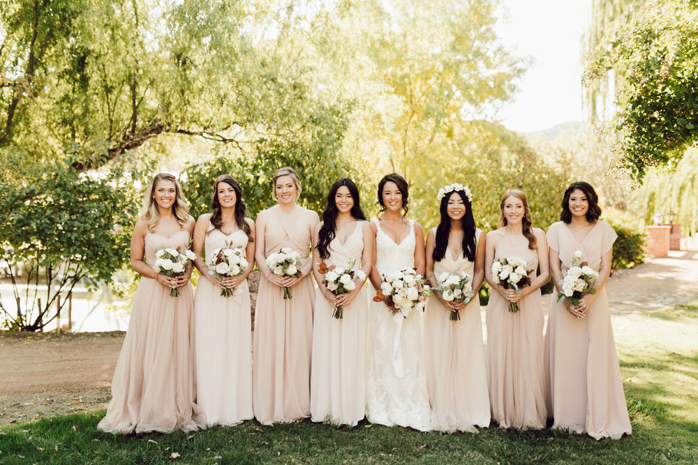 DA Ranch Fall Wedding - Bridal Party in Nude Gowns