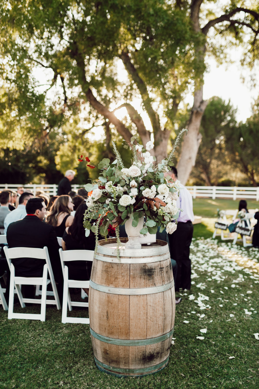 DA Ranch Fall Wedding - Wine Barrel Ceremony Entrance