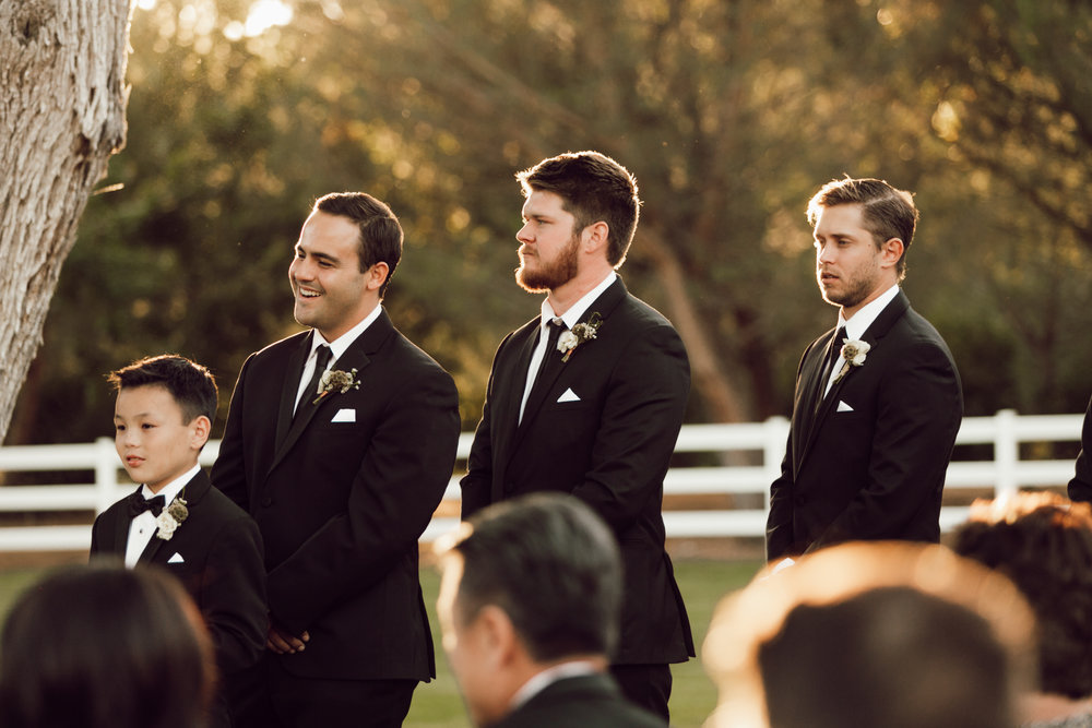 DA Ranch Fall Wedding - Groomsmen at Ceremony