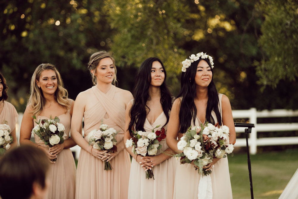 DA Ranch Fall Wedding - Bridesmaids at Ceremony