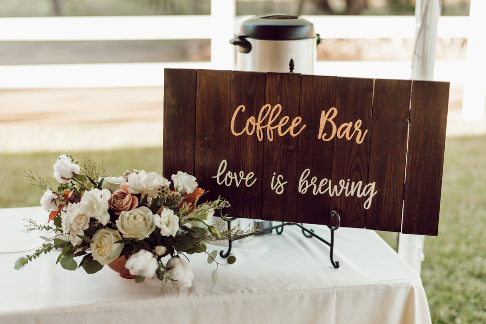 DA Ranch Fall Wedding - Rose and Copper Centerpiece