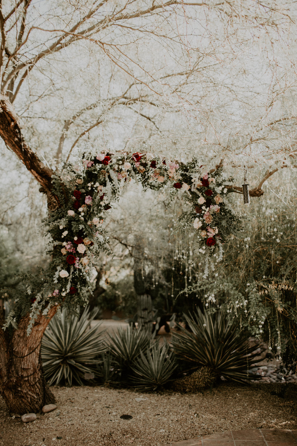 Moody Desert Wedding - Tree Garland Installation