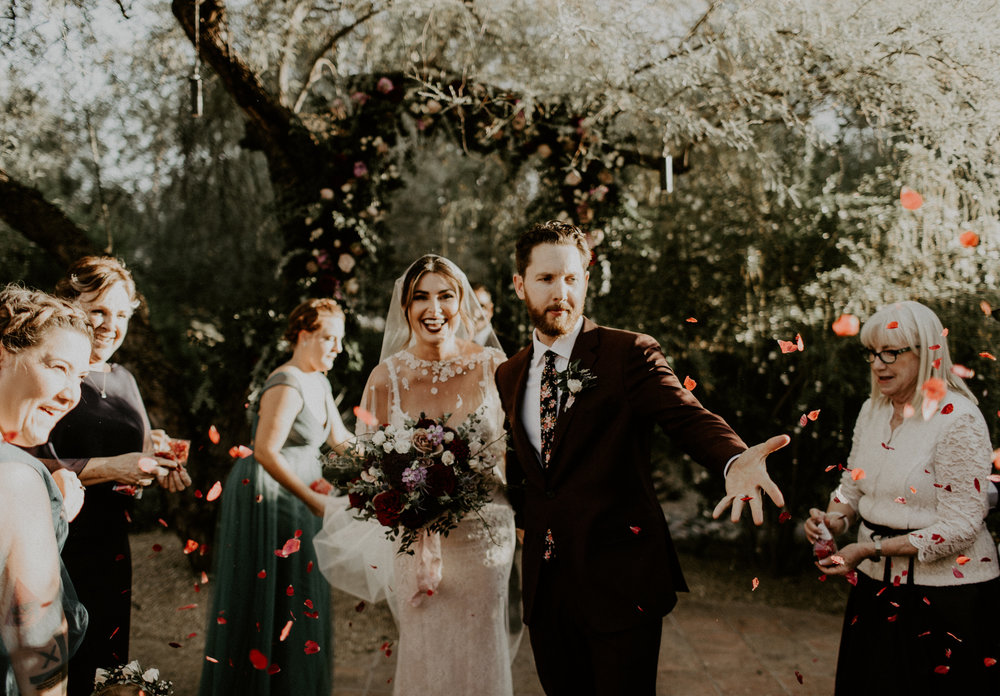 Moody Desert Wedding - Flower Petals Thrown at Ceremony