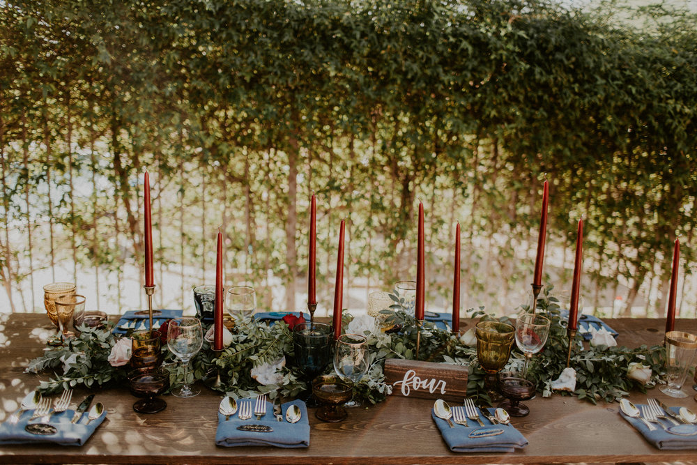 Moody Desert Wedding - Farm Tables for Guests