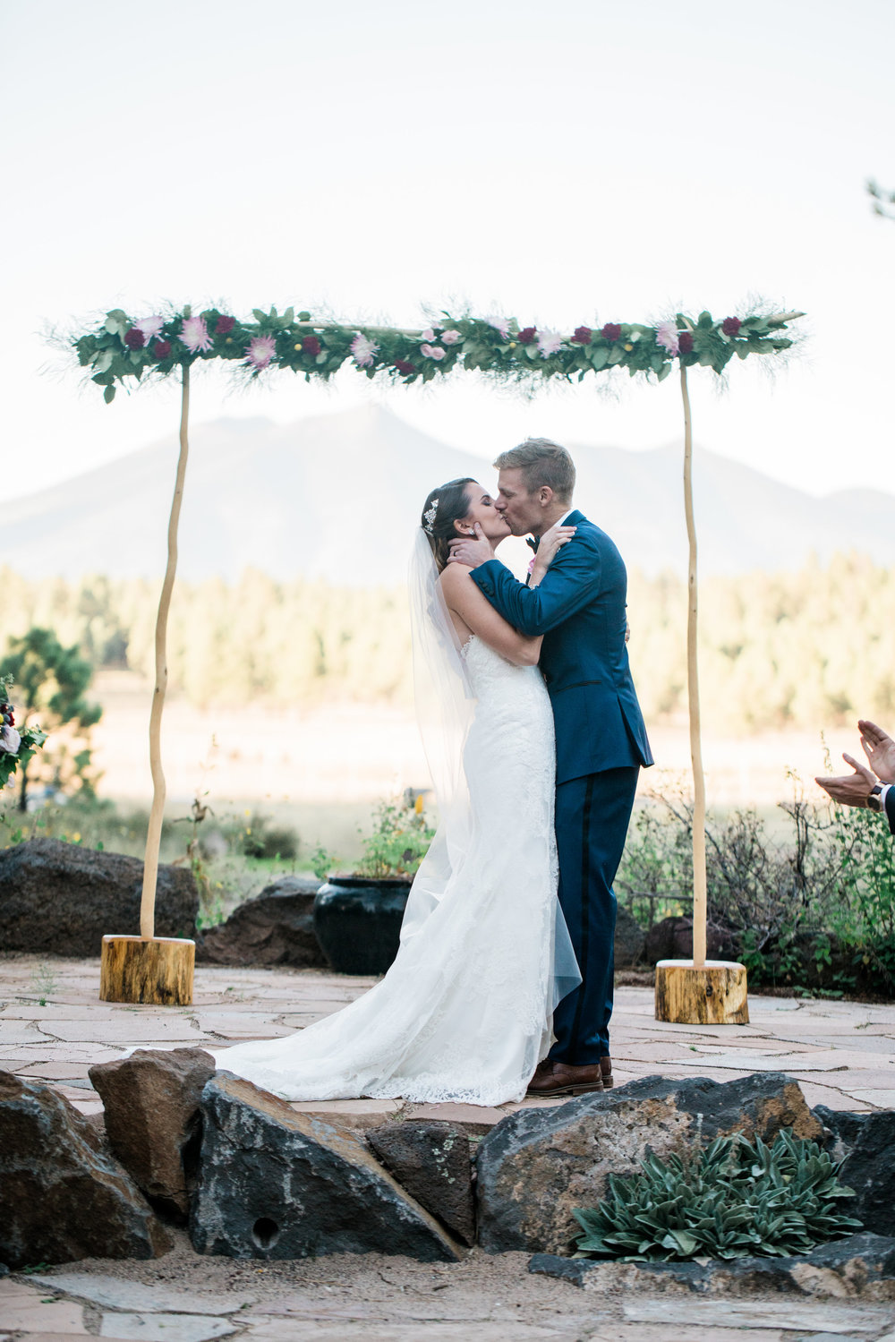 Flagstaff Forest Wedding - Ceremony Arch with Garland
