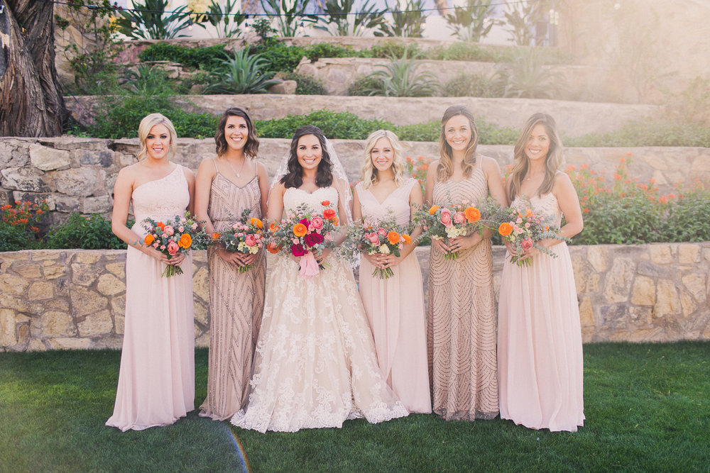 Colorful Springtime Wedding at Wrigley Mansion - Bridal Party in Neutral Toned Gown