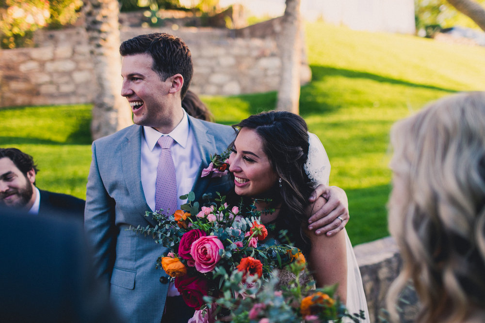 "Colorful Springtime Wedding at Wrigley Mansion - Bride and Groom after ""I do""!"