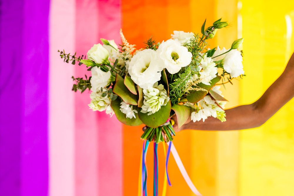 Colorful Striped Wedding Inspo - White Bridal Bouquet