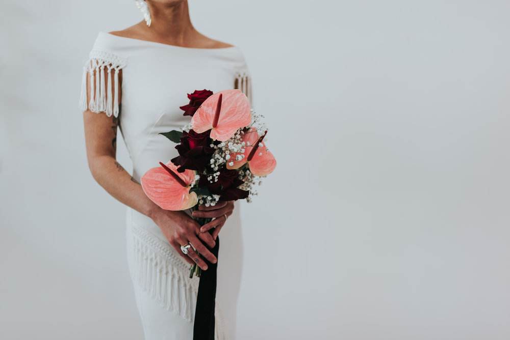 Millennial Pink Inspired Wedding - Rue de Siene Gown with 90's inspired bouquet