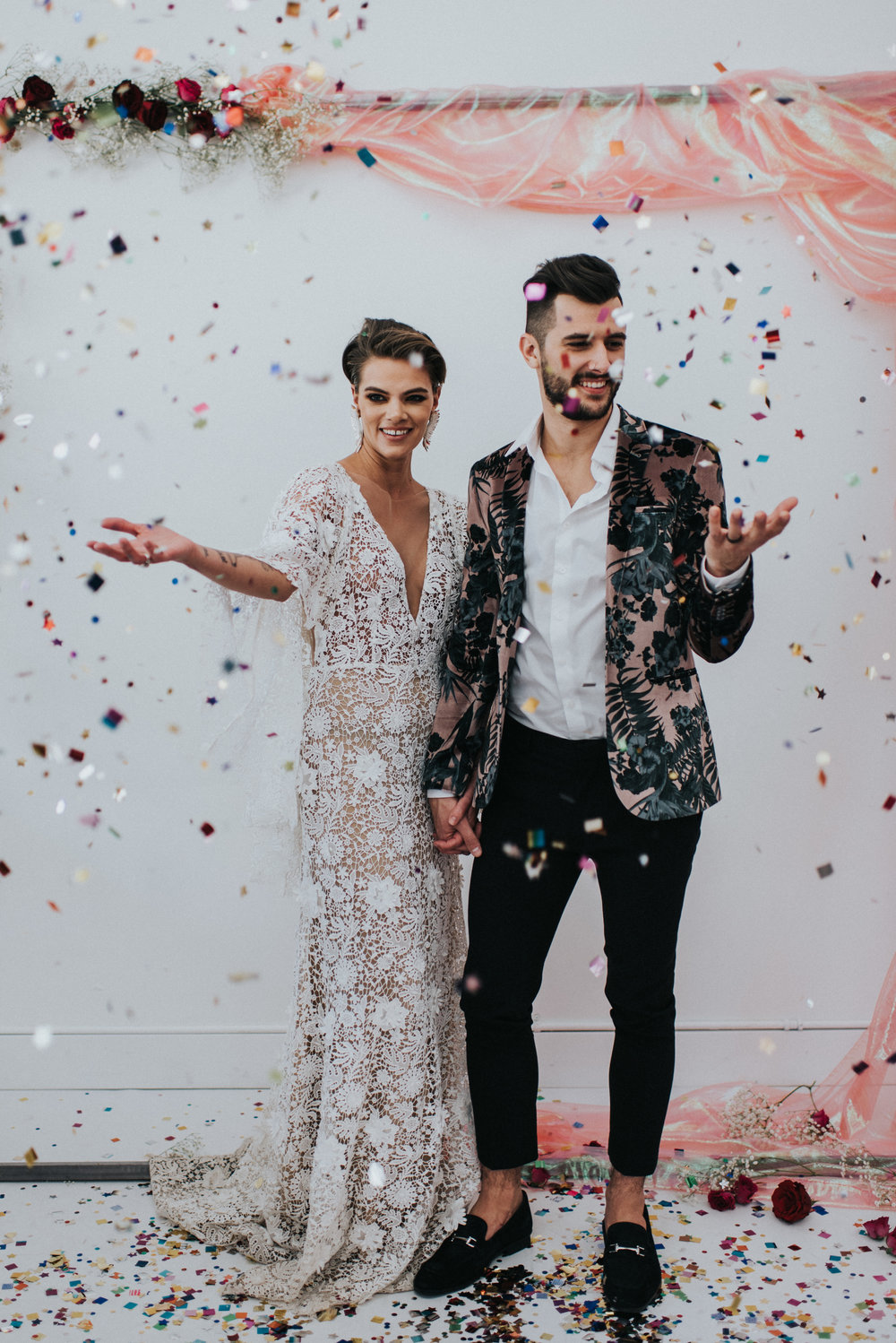 Millennial Pink Inspired Wedding - Confetti Exit