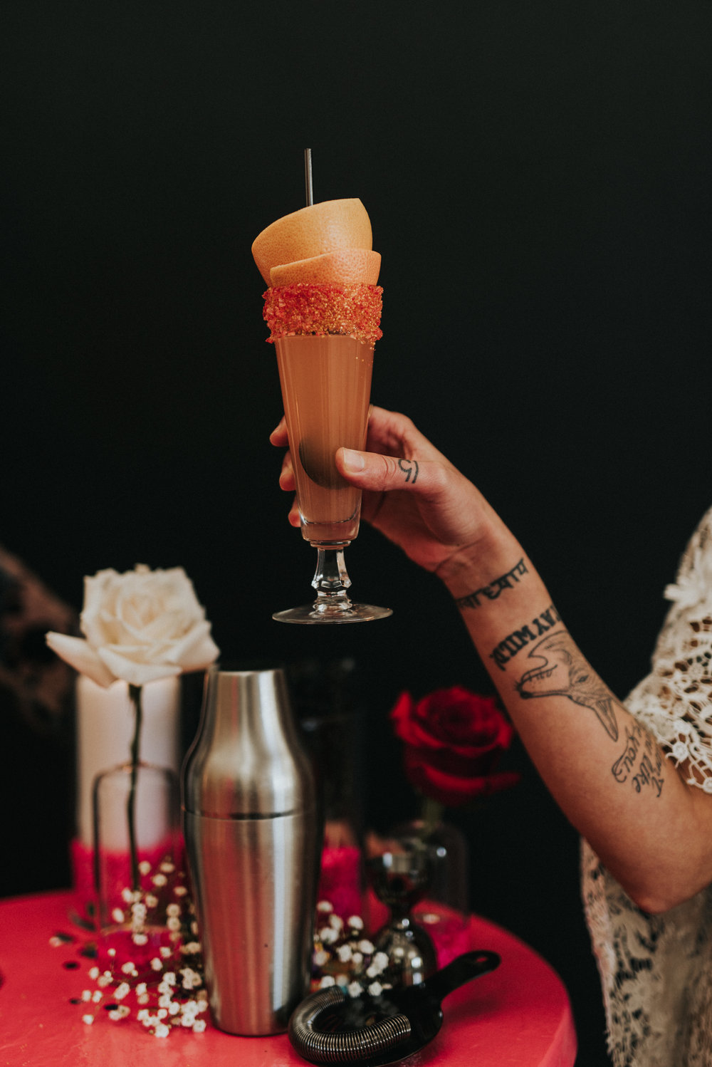 Millennial Pink Inspired Wedding - Frozen Layered Cocktail
