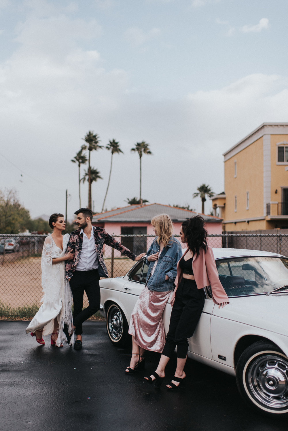 Millennial Pink Inspired Wedding - Grand Exit in a Classic Car