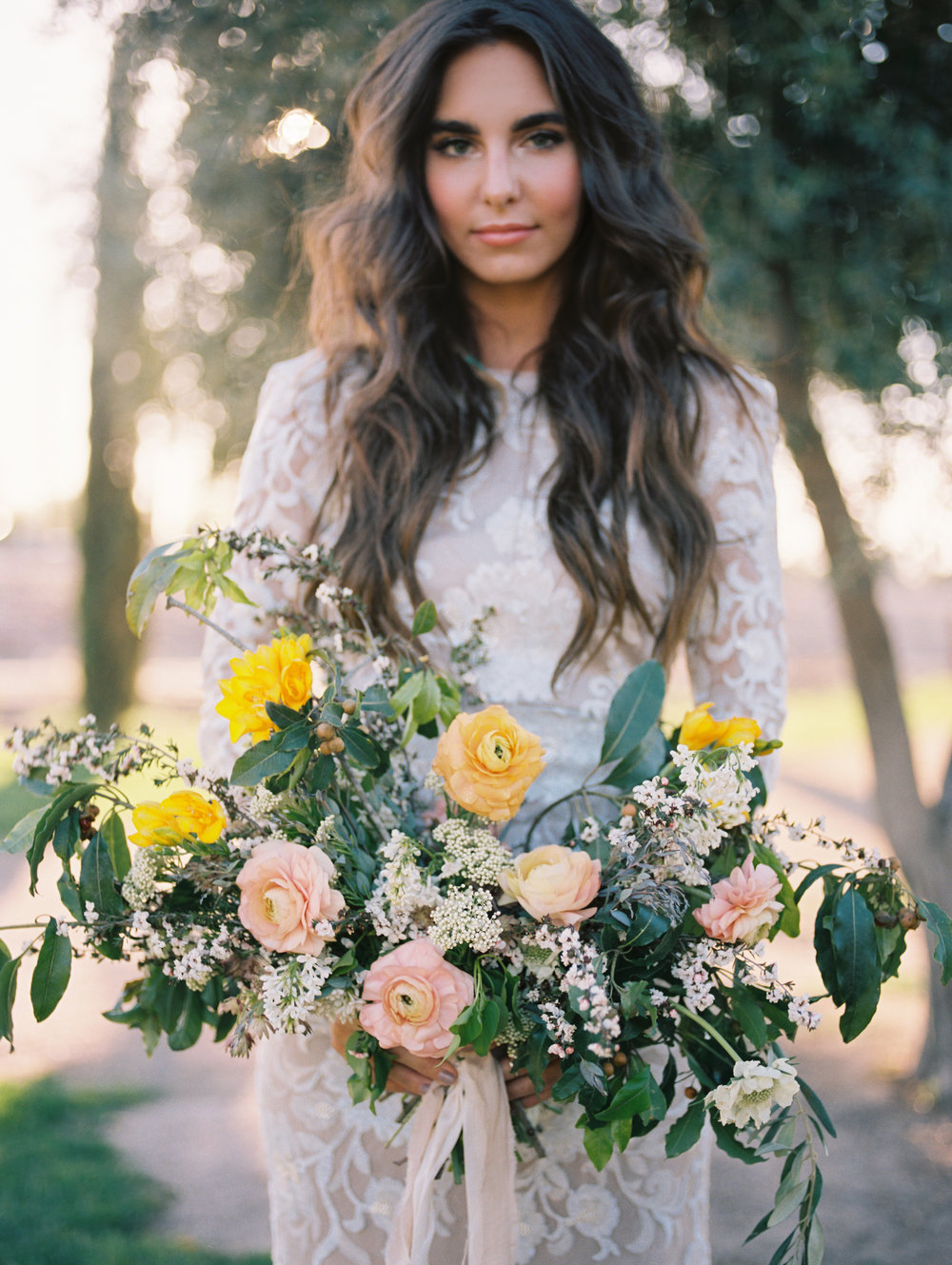 Olive Mill Wedding Inspiration - Ranunculus and Greenery Bouquet