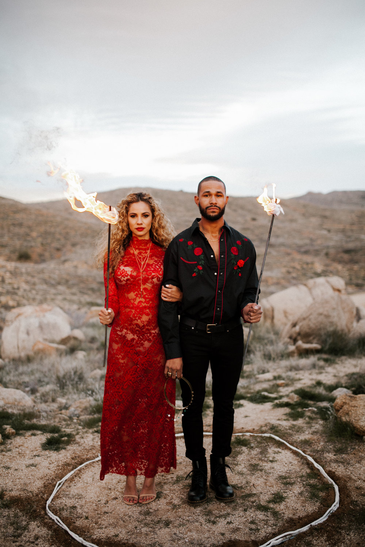Nontraditional Desert Elopement Ceremony - Fire in the desert