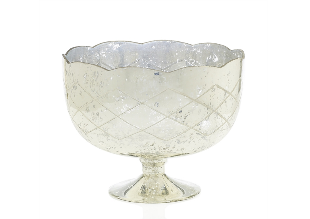 Large Silver Mercury Glass Compote