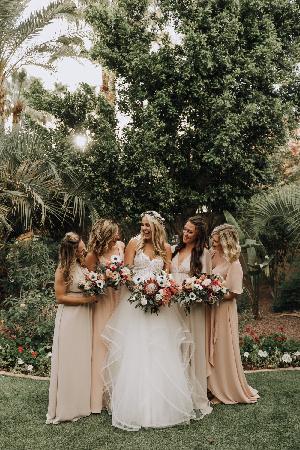 Bridal Party in Nude Gowns with Pink, Blush, and White bouquets