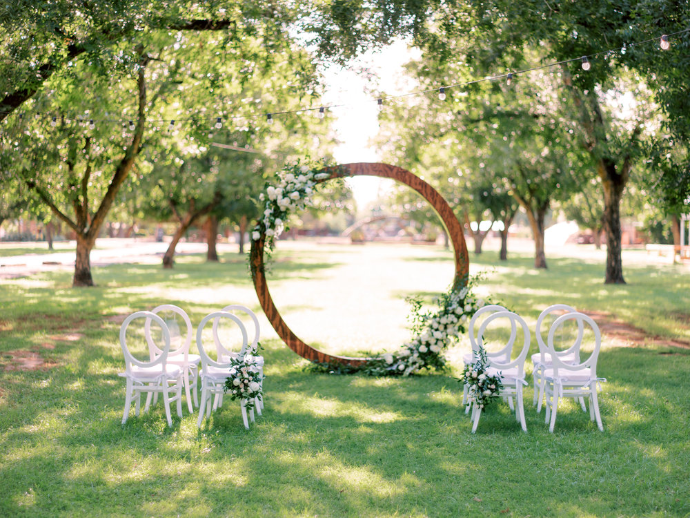 White Wedding at The Farm at South Mountain - Circle Arch