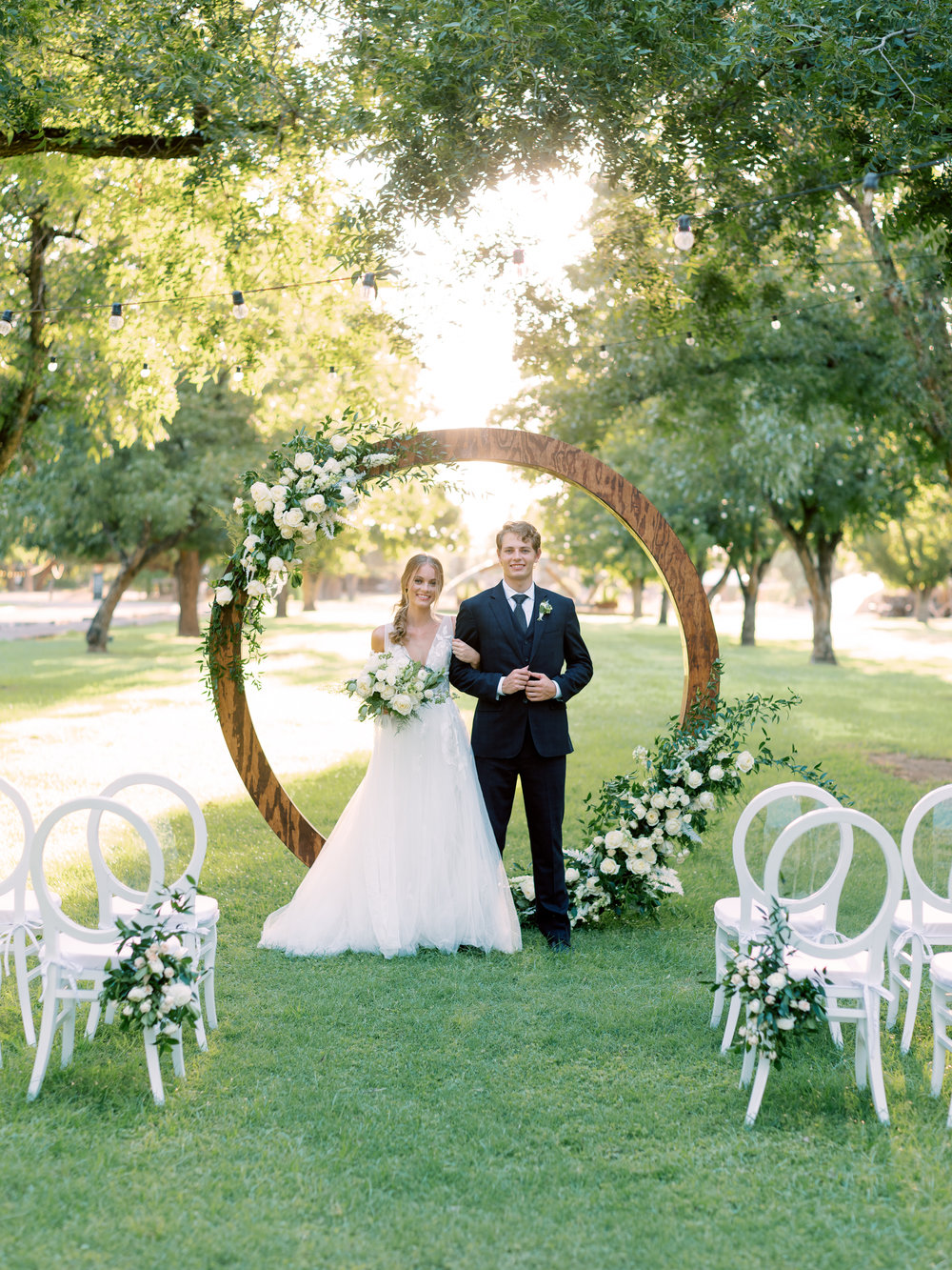 White Wedding at The Farm at South Mountain - Circle Arch Ceremony