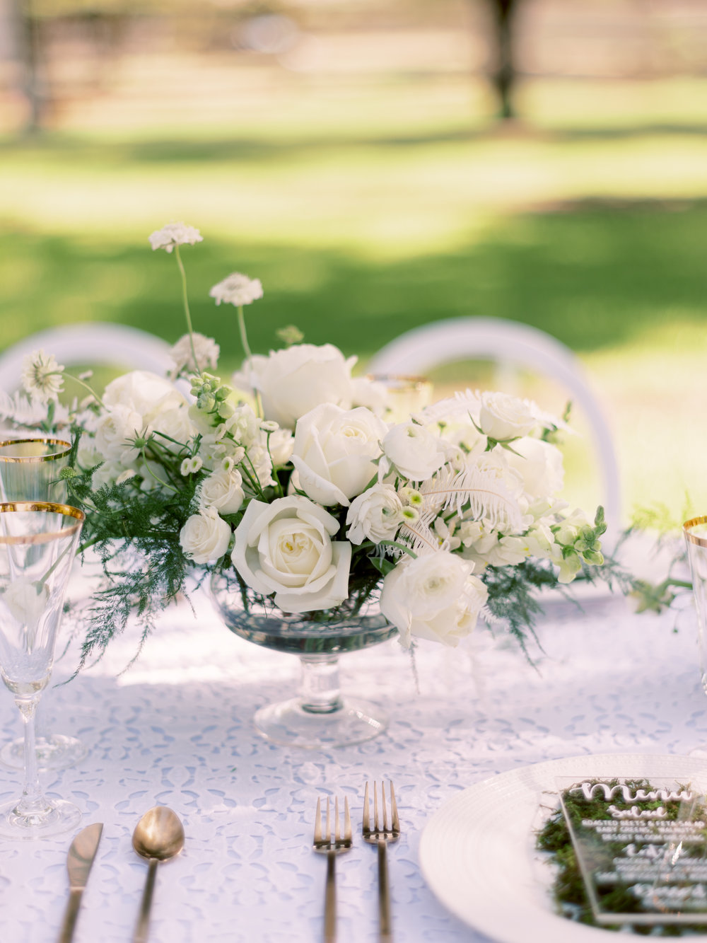 White Wedding at The Farm at South Mountain - Centerpiece
