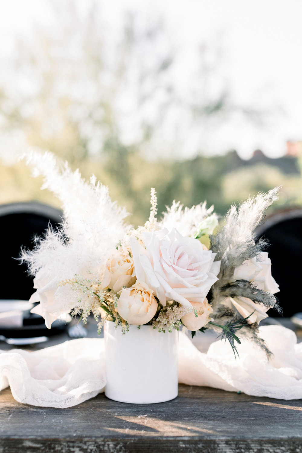Black and Blush Fine Art Desert Wedding - Pampas Grass Centerpiece