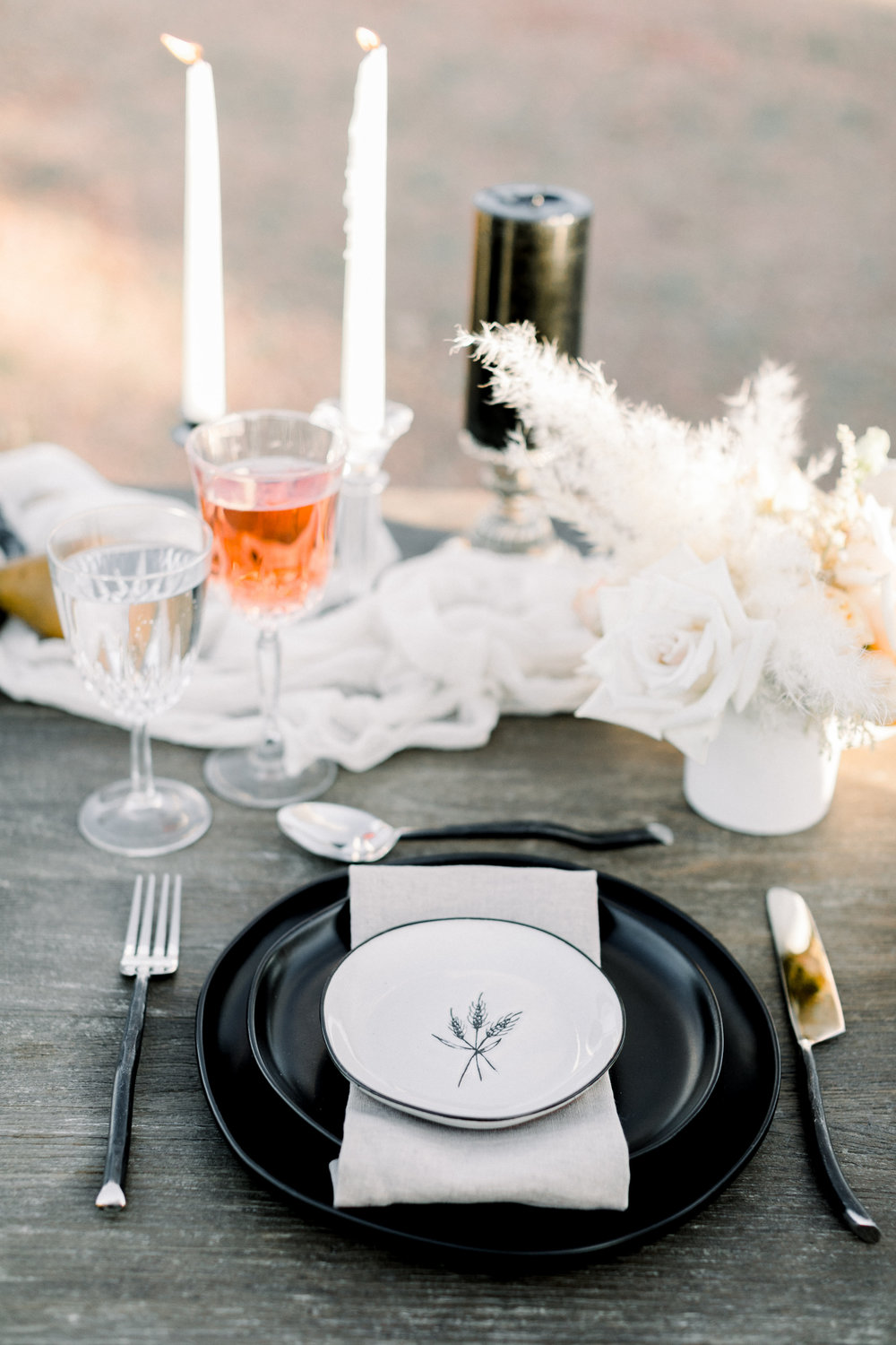 Black and Blush Fine Art Desert Wedding - Sweetheart Table Inspiration