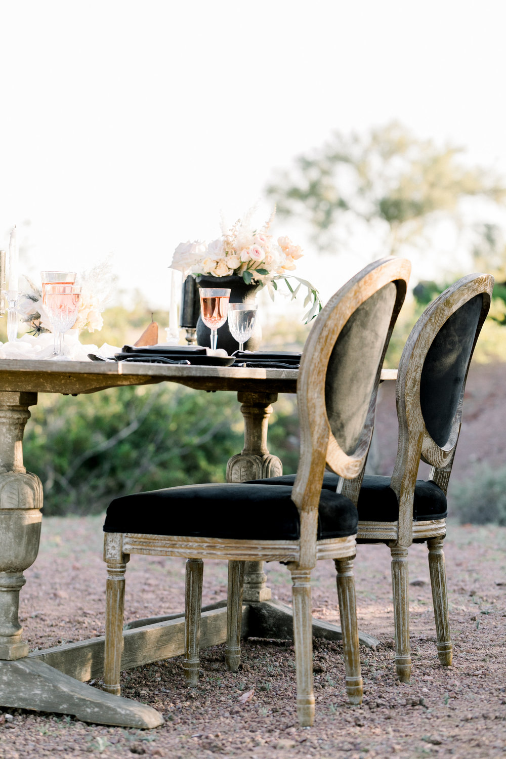Black and Blush Fine Art Desert Wedding - Sweetheart Table