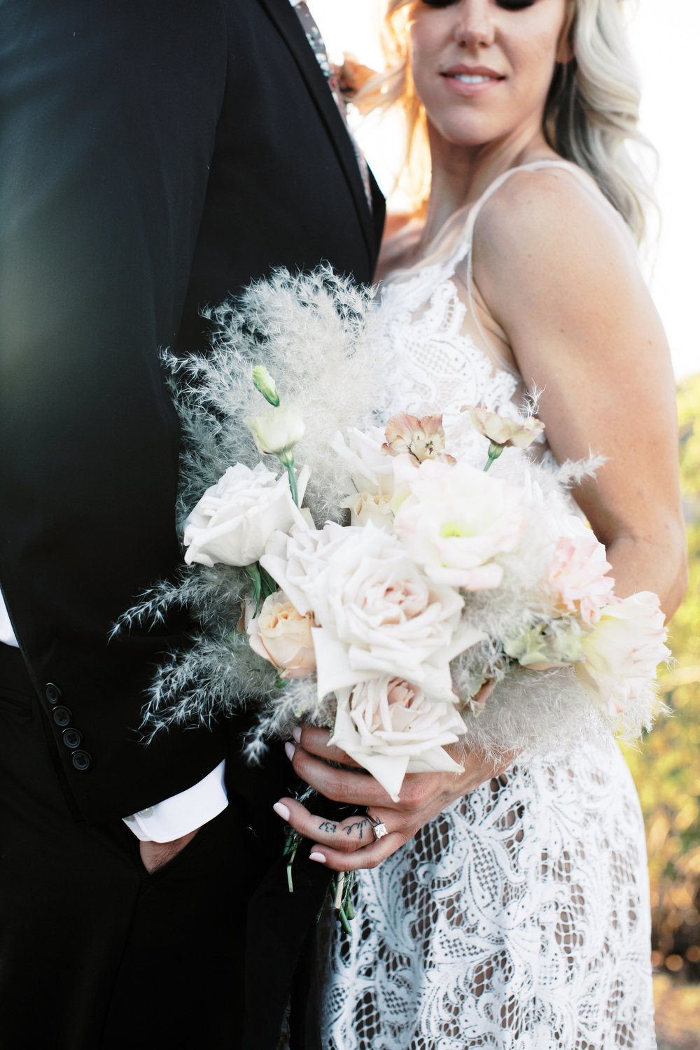Black and Blush Fine Art Desert Wedding - pampas grass bouquet