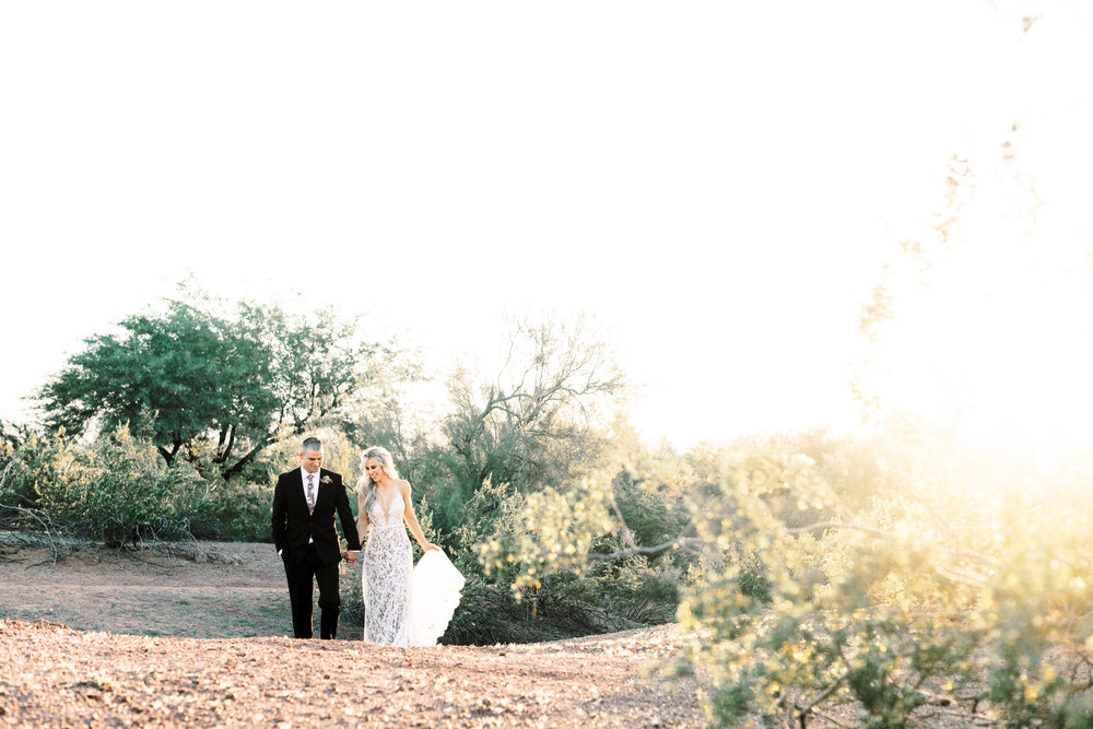 Black and Blush Fine Art Desert Wedding