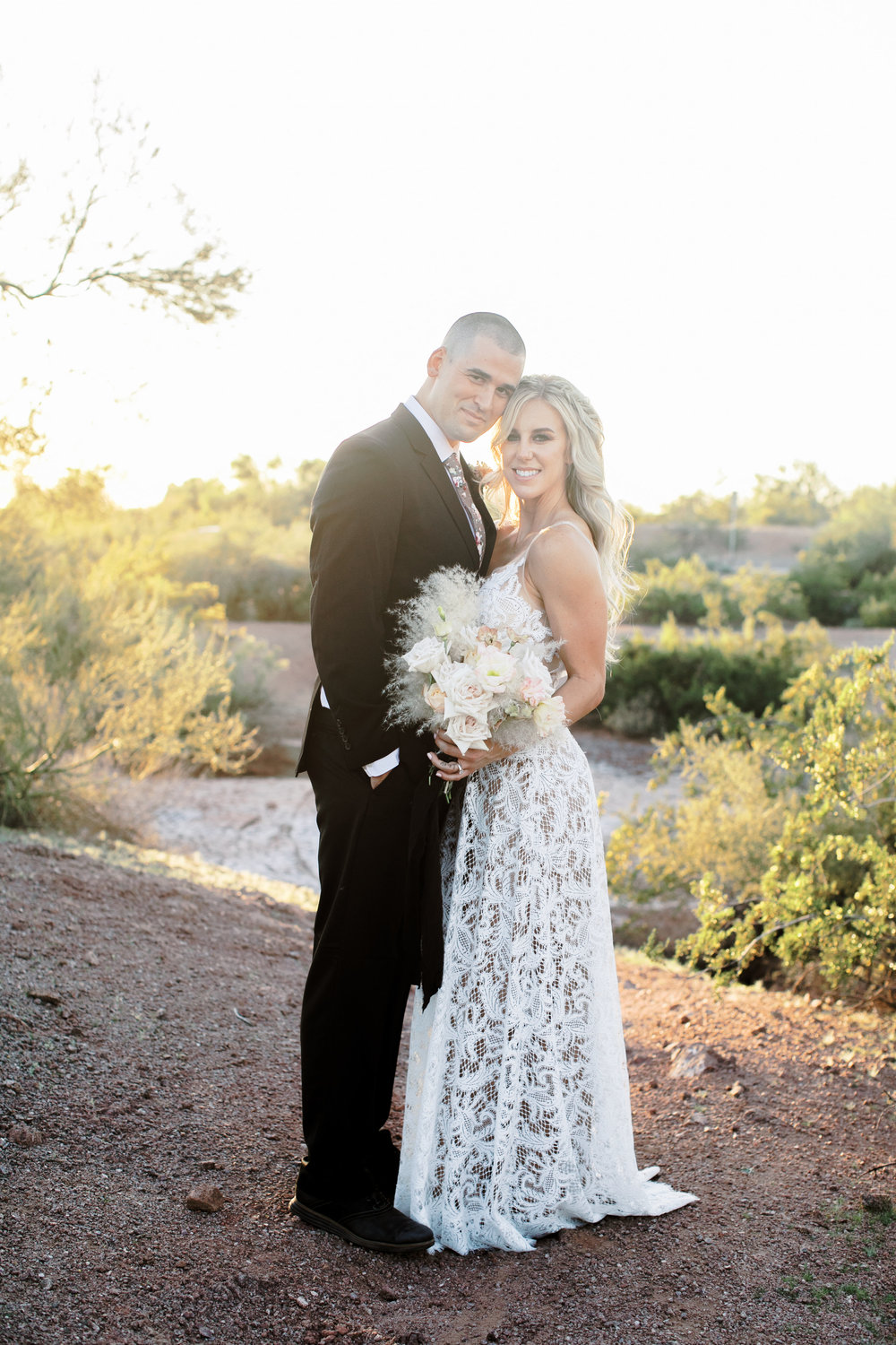 Black and Blush Fine Art Desert Wedding - Bride and Groom - Pampas Grass Bouquet
