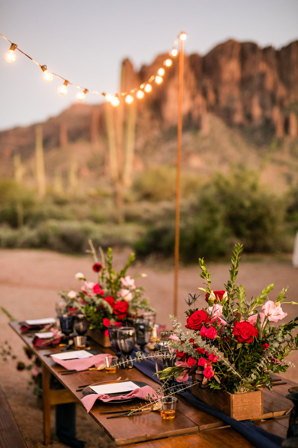 Brock & Megan's Intimate Superstition Mountain Wedding - Farm Table Reception with String Lights, burgundy and blush flowers, and black place settings