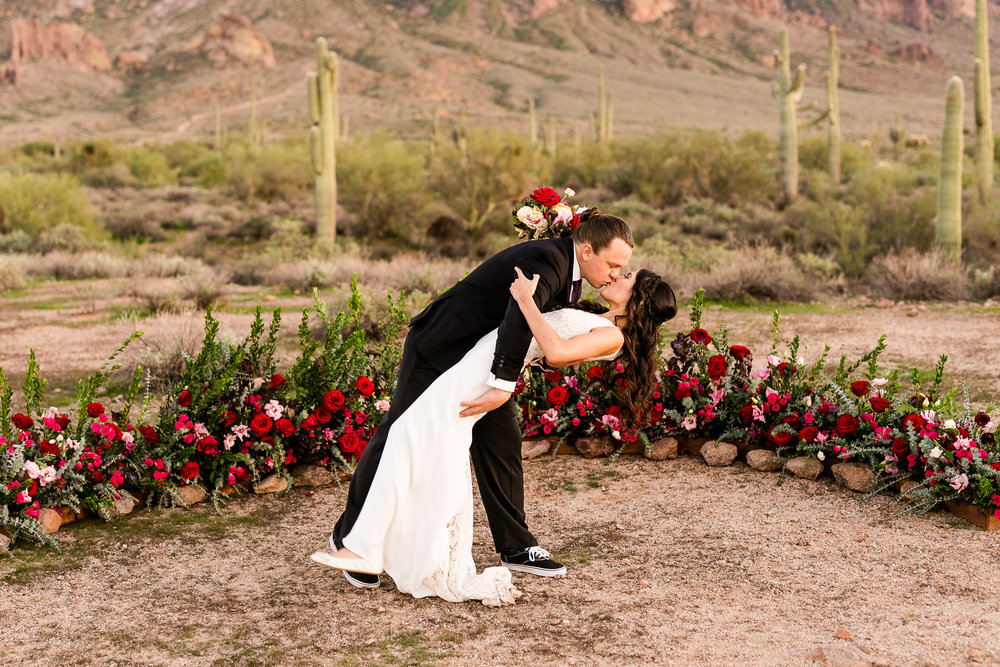 Red and blush Wedding Ceremony Flowers