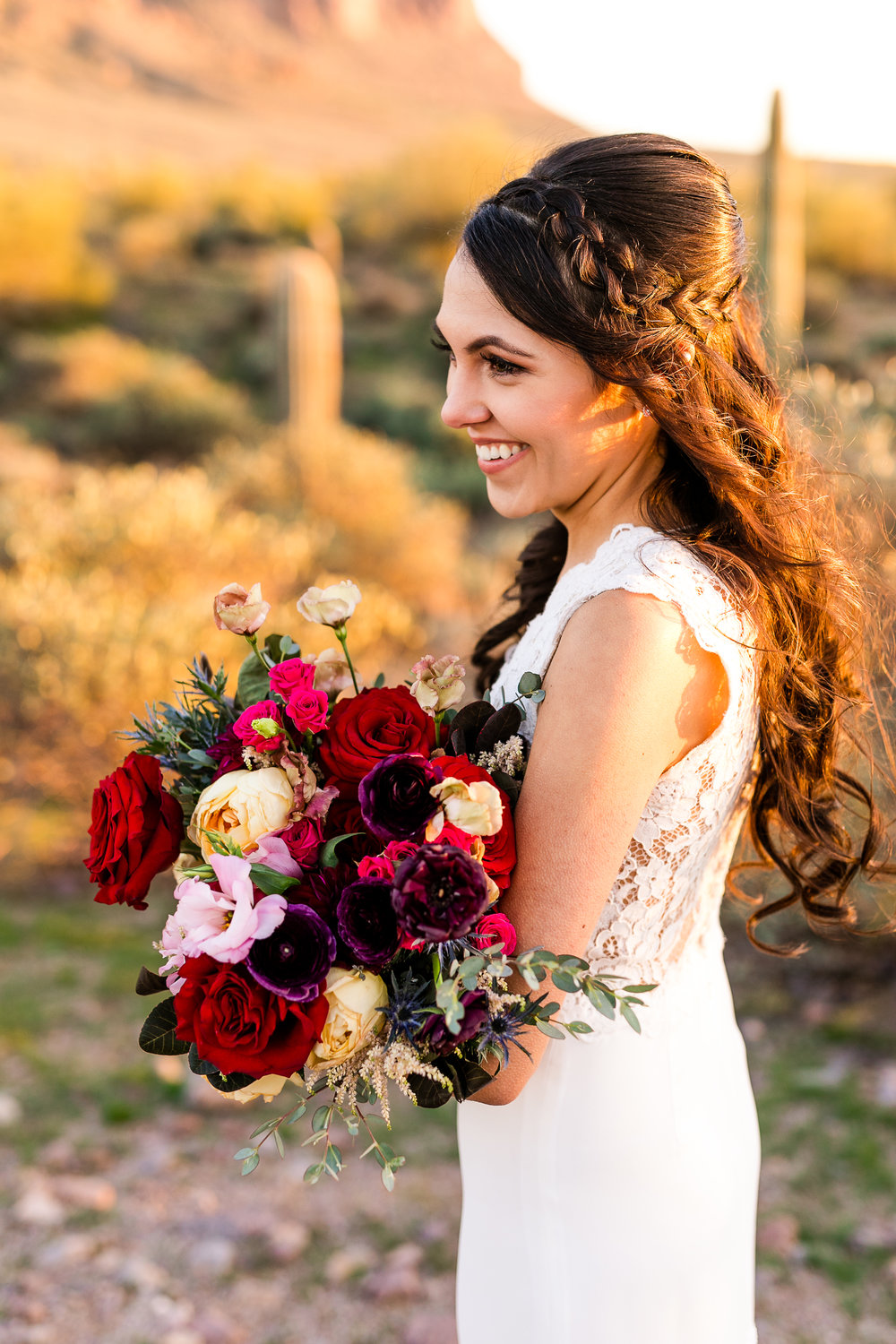 Red, Plum, Blush, and Gold Bridal Bouquet Inspiration