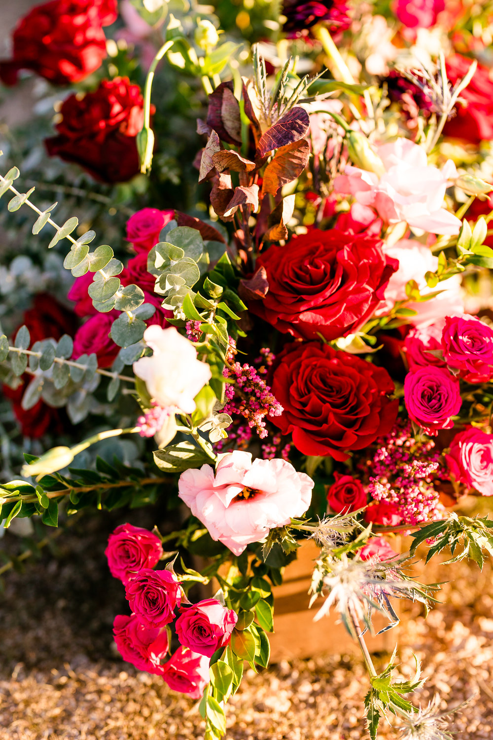 Red and blush wedding flowers