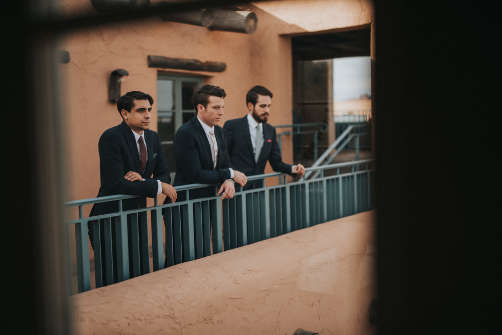 Frida Kahlo Inspired Wedding - Groom and groomsmen in custom suits
