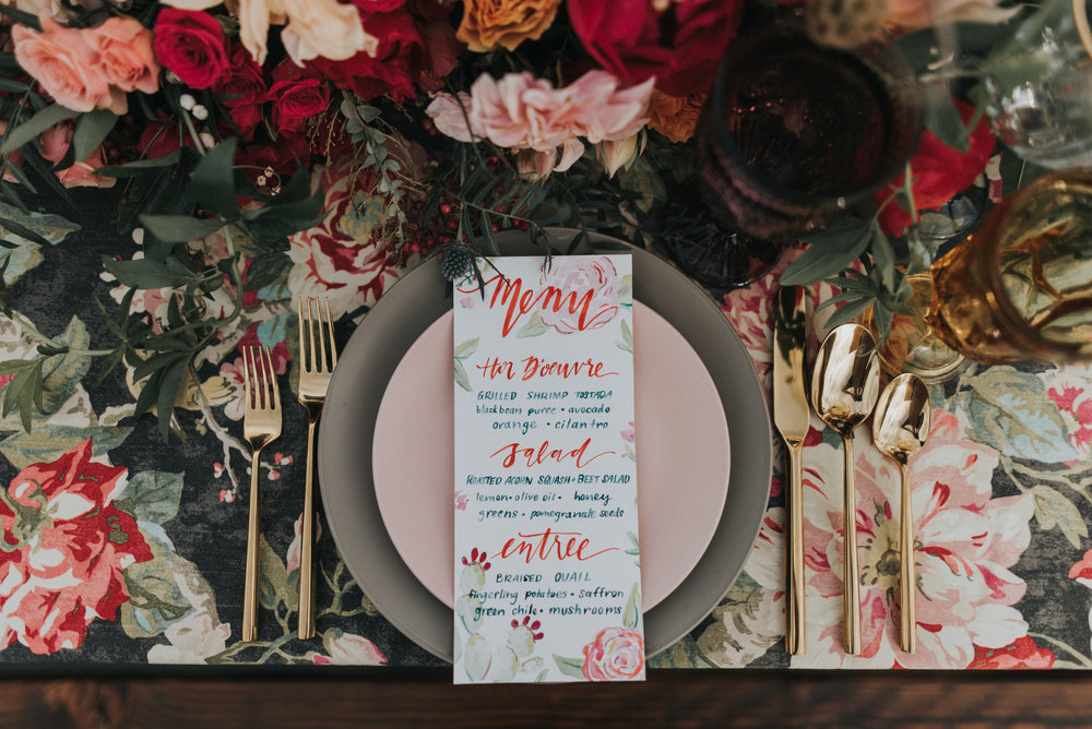 Frida Kahlo Inspired Wedding - Calligraphy Menu
