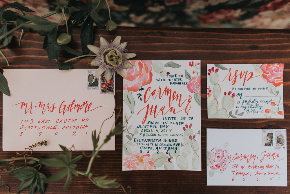 Frida Kahlo Inspired Wedding - Custom Calligraphy and Watercolor Invitation Suite