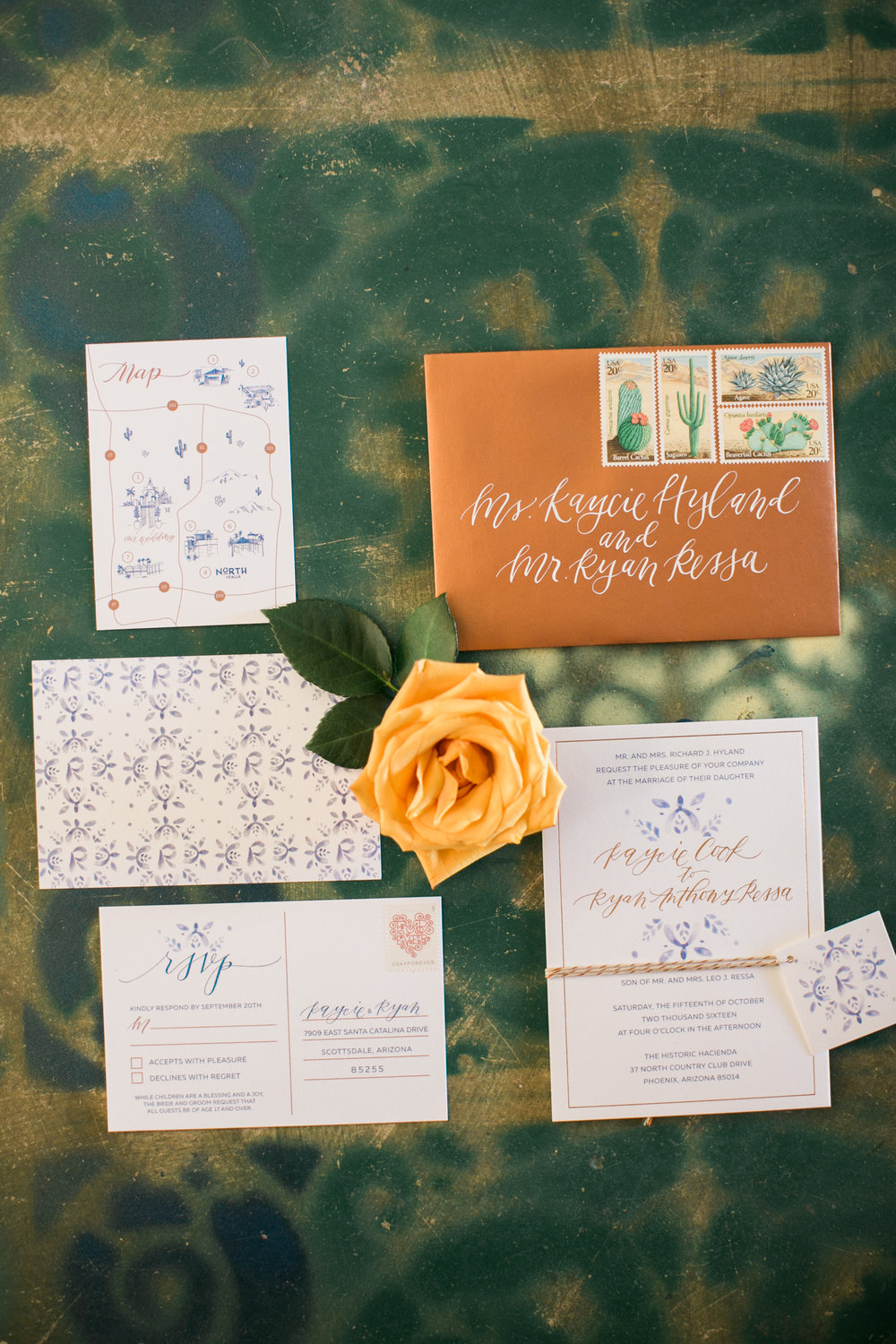 Custom Wedding Invitation Suite - Copper Envelopes, Calligraphy, Watercolor, and a custom monogram