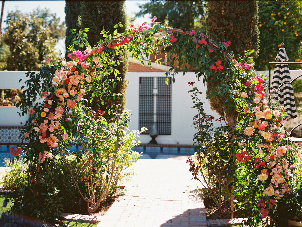 Colorful Backyard Wedding Arch