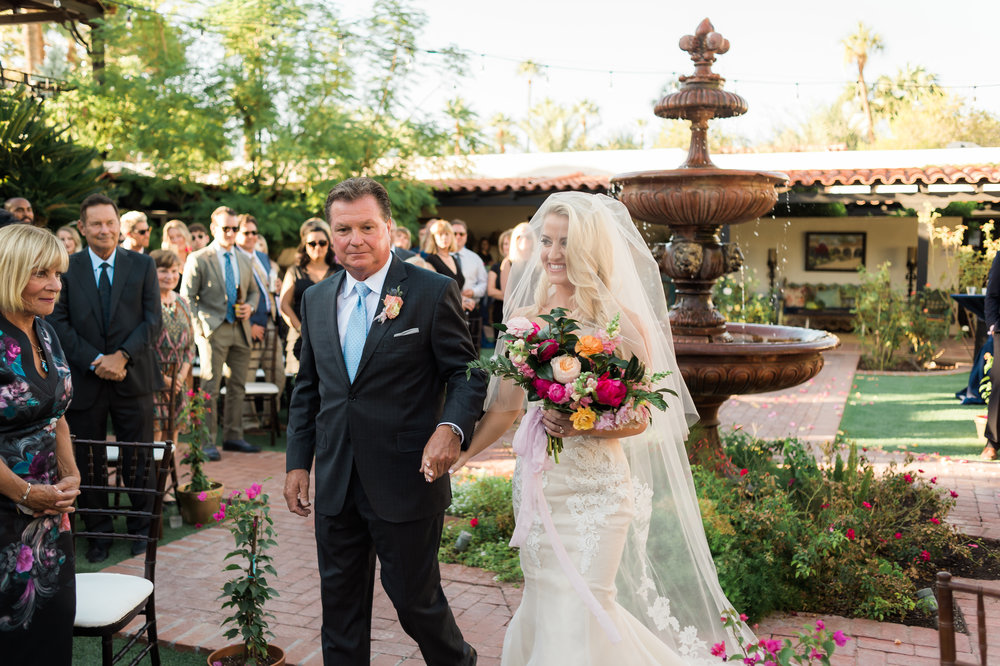 Private Estate Wedding in Phoenix - Bride Walking Down the Aisle