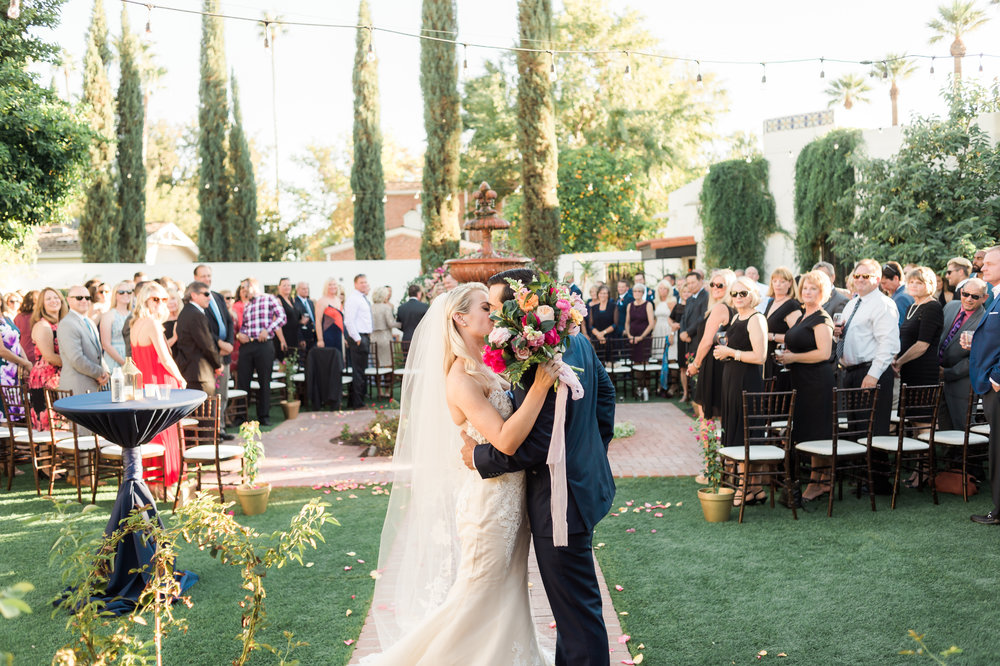 Private Estate Wedding in Phoenix - Kiss after ceremony - Form Floral Bouquet